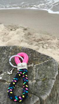 Schlüsselanhänger Segelseil Heimathafen Segelboot pink-konfetti
