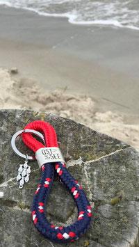 Schlüsselanhänger Segelseil Ostsee Fische rot-navy