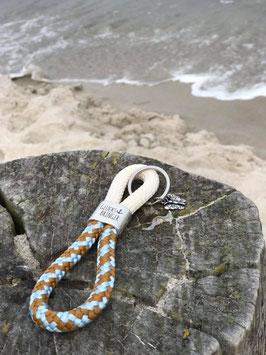 Schlüsselanhänger Segelseil GLÜcksbringer Schmetterling beige-sand-blau