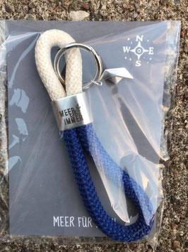 Schlüsselanhänger MEER GEHT IMMER Segelseil Papierboot dunkelblau