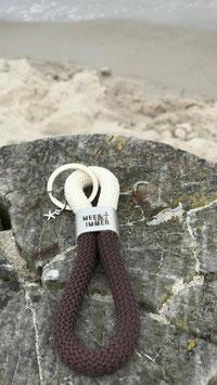 Schlüsselanhänger Segelseil Meer geht immer Seestern beige-braun