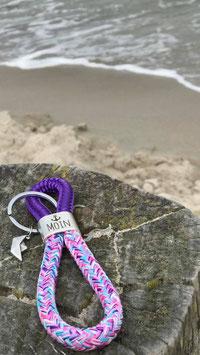 Schlüsselanhänger Segelseil MOIN Papierboot lila-meerjungfrau