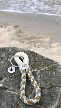 Schlüsselanhänger Segelseil Ankerplatz Anker beige-sand-blau