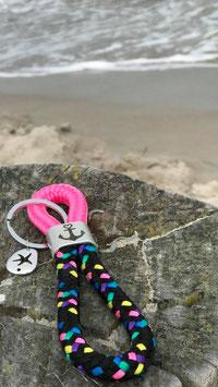 Schlüsselanhänger Segelseil ANKERPLATZ Anker schlicht Seestern pink-konfetti