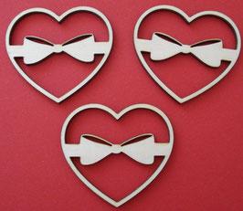 Chipboard Herzen mit Schleife