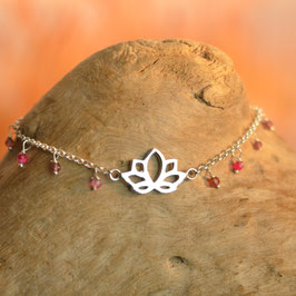 Bracelet Fleur de Lotus Agate Rouge