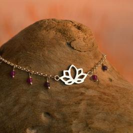 Bracelet Fleur de Lotus Agate Violettes