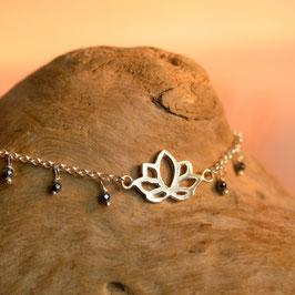 Bracelet Fleur de Lotus Hématite