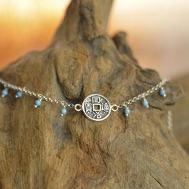 Bracelet Pièce Tibétaine Howlite Bleue Turquoise