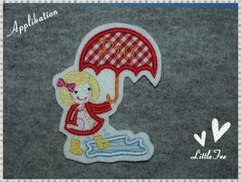Applikation Mädchen mit Regenschirm