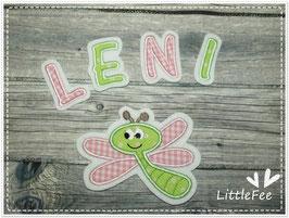 Applikation Libelle mit Buchstaben im Set