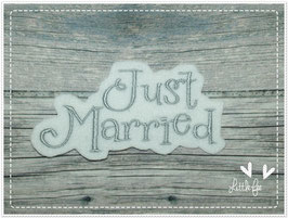 Applikation  Schriftzug Just married
