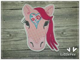 Applikation Pferd XXL rosa/pink