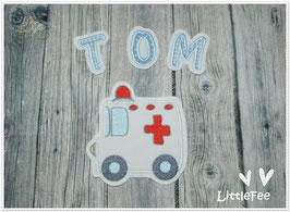 Applikation Krankenwagen mit Buchstaben im Set