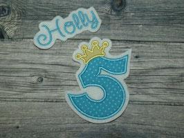 Applikation Zahl mit Krone inkl Wunschname türkis