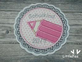 Applikation Button Stift Schulkind 2017