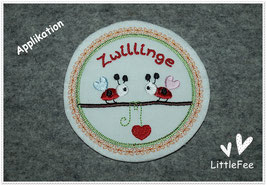 Applikation Mutterpass Button Zwillinge