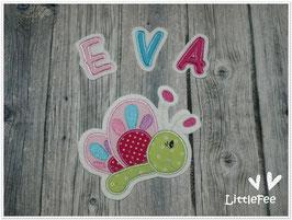 Applikation Schmetterling Bella mit Buchstaben im Set