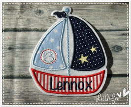 Applikation Segelboot XXL inkl. Wunschname und Geburtstagszahl