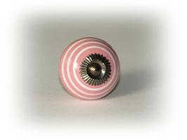 Möbelgriff rosa mit weißen Streifen