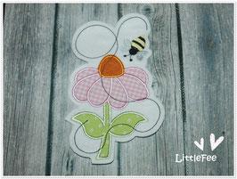 Applikation Blume mit Bienchen