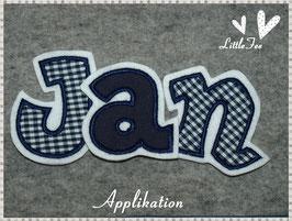 Applikationen im Set 3 Buchstaben dunkelblau-weiß Vichy Karo