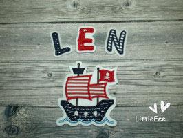 Applikation Piratenboot mit Buchstaben im Set -dunkelblau/rot