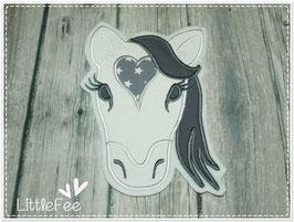 Applikation Pferd XXL weiß-grau