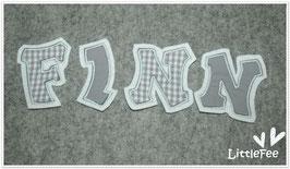 Applikation 3 Groß-Buchstaben im Set Vichy Karo grau