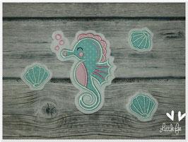 Applikation Seepferdchen mit 3 Muscheln im Set