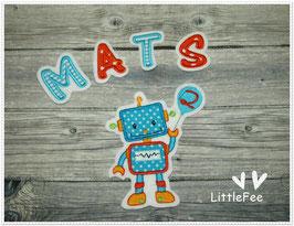 Applikation Roboter mit Buchstaben und Luftballon im Set