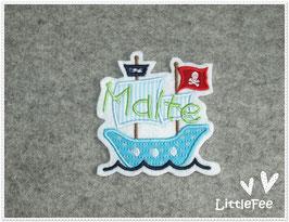 Applikation Piratenboot mit Wunschnamen