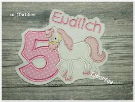 Applikation Geburtstag Pferd XL mit Zahl