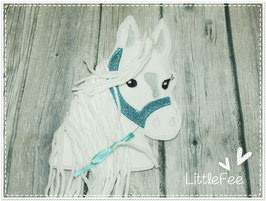 Applikation Pferd Pony Glitzer türkis