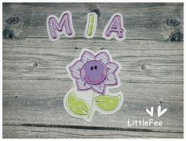Applikation Blume mit Buchstaben im Set