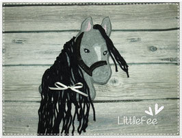 Applikation Pferd Pony Glitzer schwarz