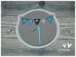 Applikation Button Wimpelkette mit Zahl blau türkis