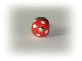 Möbelknauf klein rot mit weißen Punkten