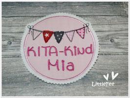 Applikation Button Kita Kind Wimpelkette mit Wunschnamen XL