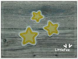 Applikation Sterne 3er Set gelb