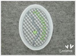 Applikation Mutterpass Button Herz -grau -