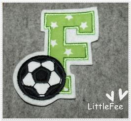 Applikation Aufnäher  Fußball Buchstabe