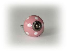 Möbelgriff rosa mit weißen Punkten