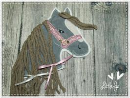 Applikation Pferd Pony Glitzer grau mit weißer Blesse