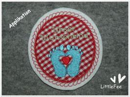 Applikation Mutterpass Button Unser Wunschkind