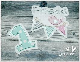 Applikation Vogel auf Wimpelkette mit Schriftzug und Zahl im Set mint-rosa-grau
