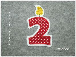 Applikation Geburtstags Zahl gepunktet