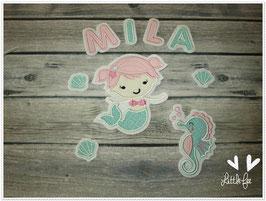 Applikation Meerjungfrau Fine mit Seepferdchen,Muscheln und 3 Buchstaben im XXL Set