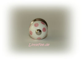Möbelgriff klein weiß mit rosa Punkten