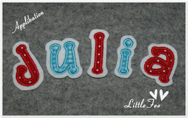 Applikation 3 Buchstaben im Set - Schriftart Julia-